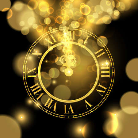 Happy New Year luxury golden illustration, clock marking midnight time on black background. Ilustrace