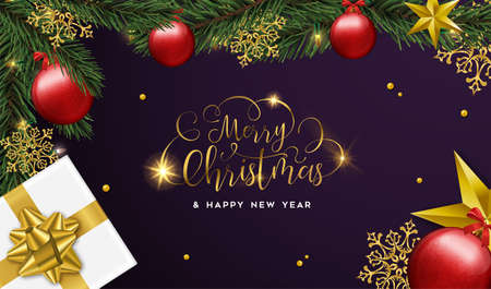 Merry Christmas and Happy New Year luxury greeting card, realistic red bauble ornaments with gift box and pine tree on purple background.