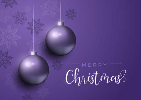 Merry Christmas card, purple xmas bauble ornaments with snowflakes. Luxury holiday balls background for invitation or seasons greeting.