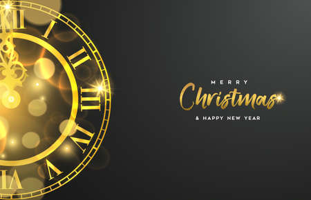 Christmas and New Year luxury golden web banner illustration, clock marking midnight time on black background. Иллюстрация