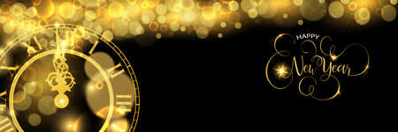 Happy New Year luxury golden web banner illustration, clock marking midnight time on black background.