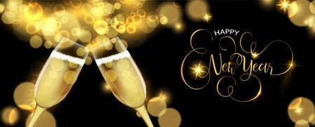 Frohes neues Jahr luxuriöse goldene Grußkartenillustration, realistischer Champagnerglastoast auf schwarzem Hintergrund.