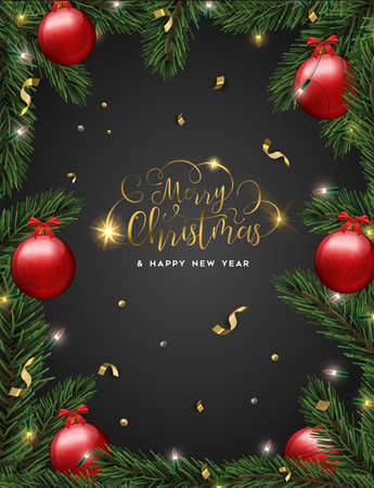 Merry Christmas and Happy New Year luxury greeting card, realistic red bauble ornaments in pine tree on black background. Illustration