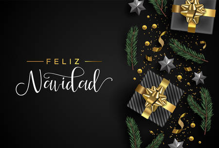 Merry Christmas card in spanish language. Gold realistic 3d gift box elements, confetti, stars and pine tree leaf on black background. Luxury holiday layout illustration.