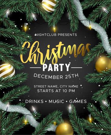 Invito a una festa di buon Natale e felice anno nuovo. Ornamenti di palline d'oro, luci natalizie e albero di pino 3d realistico su sfondo nero. Design per vacanze di lusso per brochure o volantini per eventi.