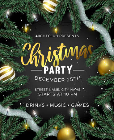 Merry Christmas Happy New Year party invitation. Gold bauble ornaments, xmas lights and realistic 3d pine tree on black background. Luxury holiday design for brochure or event flyer.