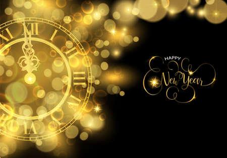 Felice anno nuovo carta dorata di lusso illustrazione, orologio che segna il tempo di mezzanotte su sfondo nero.
