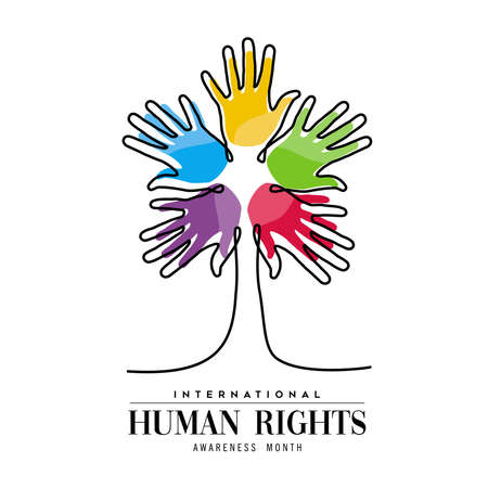 International Human Rights awareness month illustration for global equality and peace with colorful people hand tree, social diversity concept. Illustration