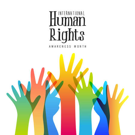 International Human Rights awareness month illustration for global equality and peace with colorful people hands, social diversity concept.