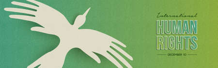 International Human Rights Day web banner illustration, bird made of people hands for special holiday celebration. Social help concept.