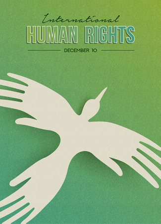 International Human Rights Day greeting card illustration, bird made of people hands for special holiday celebration. Social help concept.