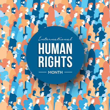 International Human Rights month illustration for global equality and peace with diverse people group. Illustration