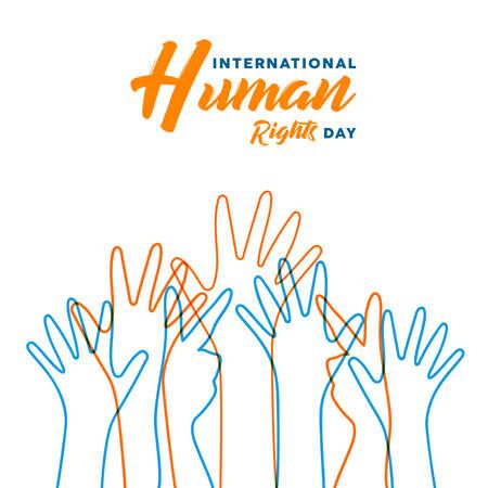 Ilustración del día internacional de los derechos humanos para la igualdad y la paz global con manos de gente colorida, concepto de diversidad social.