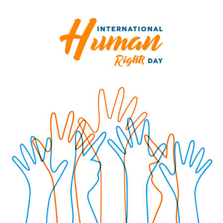 International Human Rights awareness day illustration for global equality and peace with colorful people hands, social diversity concept.