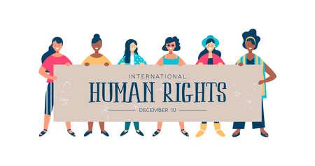 Internationale mensenrechtenmaandillustratie voor wereldwijde gelijkheid en vrede met diverse vrouwengroepen.
