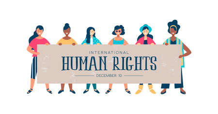 International Human Rights month illustration for global equality and peace with diverse women group.