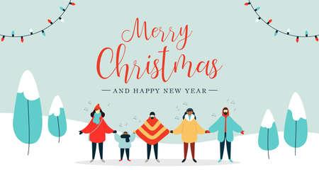 Prettige kerstdagen en gelukkig Nieuwjaar illustratie van diverse mensen groep zingen kerstliederen liedjes in sneeuwlandschap. Vakantieontwerp in vlakke stijl voor het winterseizoen. Vector Illustratie