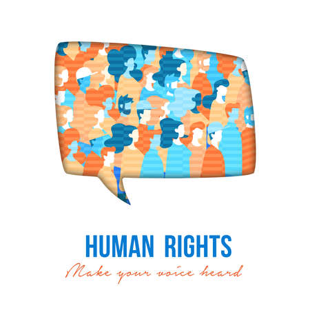 Human Rights awareness illustration for global equality and fredoom with diverse people group. Make your voice heard anti modern slavery concept poster. Banco de Imagens - 113297100