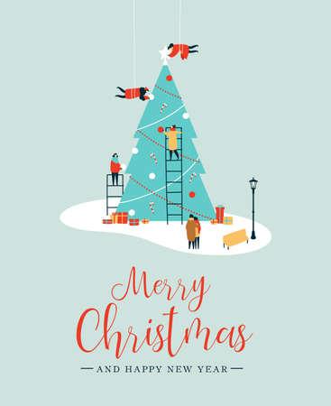 Prettige kerstdagen en gelukkig nieuwjaarswenskaart, mensengroep die samen grote kerstboom dennen maakt voor de feestdagen met ornamentdecoratie, geschenken. EPS10-vector.