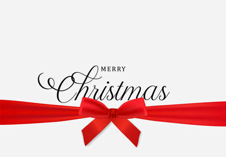 Merry Christmas card, realistic red ribbon on white background. Winter holiday design for party invitation or seasons greeting.