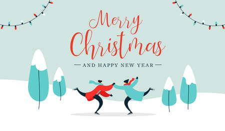 Buon Natale e felice anno nuovo illustrazione di una giovane coppia adulta che pattina sul ghiaccio sul paesaggio del parco invernale. Design per una vacanza romantica per banner web o biglietto di auguri. Eps10 vettore. Vettoriali