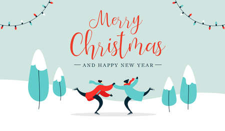 Merry Christmas and Happy New Year illustration of young adult couple ice skating on winter park landscape. Romantic holiday design for web banner or greeting card. EPS10 vector.