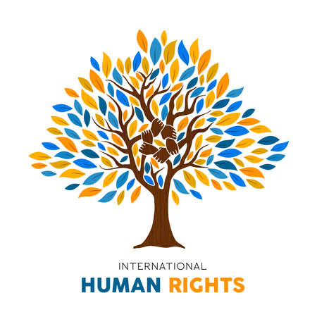 International Human Rights awareness illustration for global equality and freedom with tree made of people hands and arms. Social organization unity for man care concept.