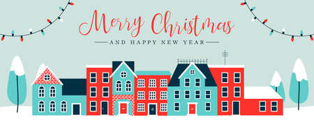 Merry Christmas and Happy New Year web banner illustration of cute houses in winter season. Holiday city landscape greeting card design with pine trees, snow, xmas lights decoration.