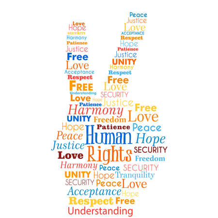 International Human Rights awareness illustration concept words in hand shape for global equality. Humanity love and peace idea. 写真素材 - 113543272