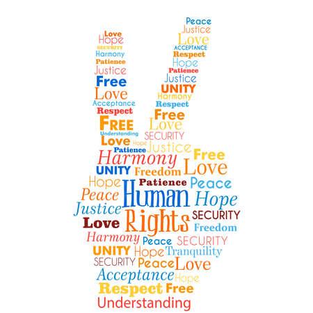 Palabras internacionales del concepto de la ilustración de la conciencia de los derechos humanos en forma de la mano para la igualdad global. Idea de paz y amor de la humanidad.