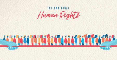 Illustrazione internazionale di consapevolezza dei diritti umani per l'uguaglianza globale e il concetto di rispetto della libertà con diversi gruppi di rifugiati.