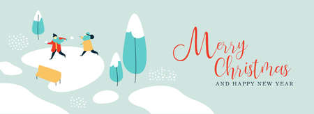 Merry Christmas and Happy New Year illustration of kids playing with snow on winter park landscape. Cute holiday design for web banner or greeting card. EPS10 vector. Çizim