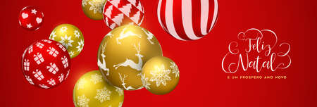 Merry Christmas web banner in portuguese language, gold and red xmas bauble ornaments. Luxury holiday balls background for invitation or seasons greeting.