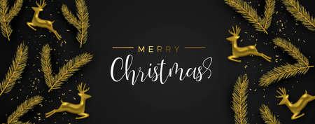 Buon Natale banner web: renna realistica in oro e foglia di pino su sfondo nero. Illustrazione di layout di vacanza di lusso. Vettoriali