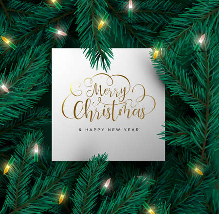 Merry Christmas Happy New Year card with realistic 3d pine tree branches and xmas lights. Winter holiday nature background for party invitation or season greetings.