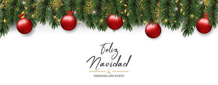 Merry Christmas Happy New Year card in spanish language. Realistic pine tree wreath garland with red xmas ornament background for luxury holiday invitation or seasons greeting. Иллюстрация