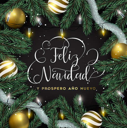 Merry Christmas Happy New Year card in spanish language. Gold ornaments, xmas lights and pine tree background. Luxury holiday design for invitation or seasons greeting. Illustration