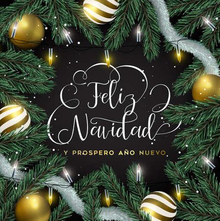 Vrolijk kerstfeest Gelukkig nieuwjaarskaart in de Spaanse taal. Gouden ornamenten, kerstverlichting en pijnboomachtergrond. Luxe vakantieontwerp voor uitnodiging of seizoenenbegroeting.