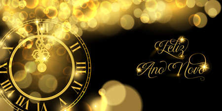 Happy New Year luxury golden web banner illustration in portuguese language, clock marking midnight time on black background.