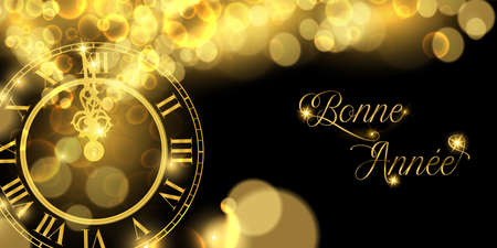 Happy New Year luxury golden web banner illustration in french language, clock marking midnight time on black background.