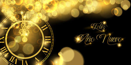 Happy New Year luxury golden web banner illustration in spanish language, clock marking midnight time on black background.