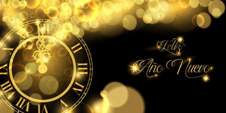Happy New Year luxury golden web banner illustration in spanish language, clock marking midnight time on black background.