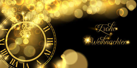 Happy New Year luxury golden web banner illustration in german language, clock marking midnight time on black background.