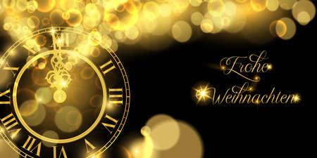 Happy New Year luxury golden web banner illustration in german language, clock marking midnight time on black background.