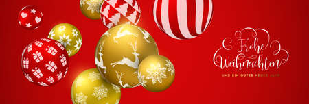 Merry Christmas web banner in german language, gold and red xmas bauble ornaments. Luxury holiday balls background for invitation or seasons greeting. Illustration