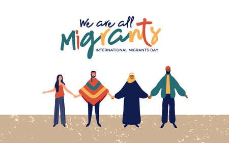 Illustrazione di sfondo della Giornata internazionale dei migranti, gruppo di persone diverse provenienti da culture diverse insieme per la migrazione globla o il concetto di aiuto ai rifugiati. Vettoriali