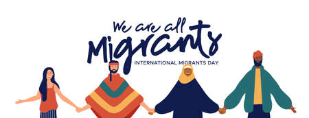 International Migrants Day web banner illustration, diverse people group of different cultures together for global migration, immigration or refugee help concept.