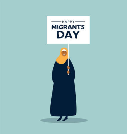 International Migrants Day illustration. Young middle eastern woman in hijab holding protest sign at global migration march or refugee parade concept.