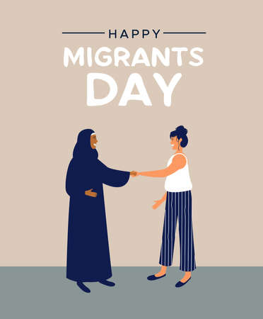 International Migrants Day greeting card illustration, women friends meeting of different cultures together for global migration or refugee help concept. Illustration