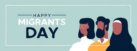 International Migrants Day web banner illustration, diverse people group of different cultures together for ethnic diversity, global migration or refugee help concept.